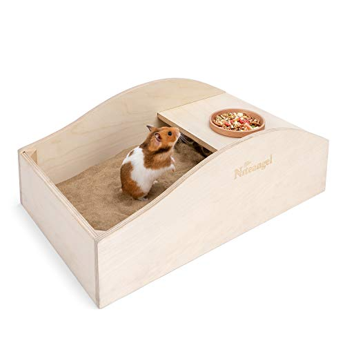 Niteangel Hamster Sand Bath Dust Free Box - Wooden Critter's Shower & Digging Sand Bathtub for Small Animals Like Hamsters Mice Lemming or Gerbils...