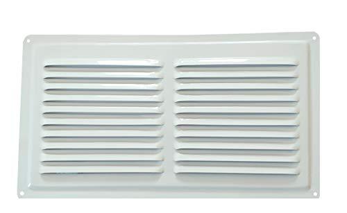 Rejilla de ventilación de metal blanco RAL 9016, rejilla de ventilación de metal blanco para exteriores (18 32 cm)