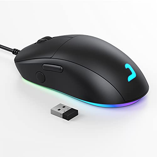 Wireless Gaming Mouse, Jelly Comb Dual-Mode(Wired and 2.4G Wireless) RGB Backlit Mice,Up to 10,000 DPI Optical Sensor,for PC Computer Laptop Gaming Players (Black) GM01