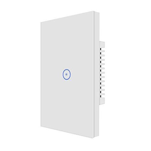 Interruptor de panel táctil inteligente, interruptor WiFi, mando a distancia, compatible con control de voz Alexa, no requiere hub, Wi-Fi de 2,4 GHz.