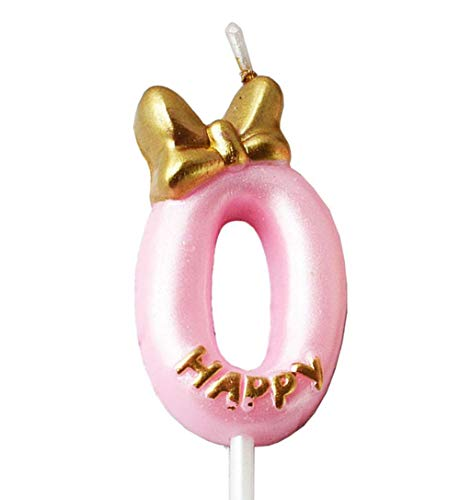QQYL Pink 2 Candle Birthday Girl,Purple Second 2nd Birthday Candle Girl for Cake Topper, Number 2 Cake Topper Gold, 2th Birthday Party Decoration (08 Number 0)