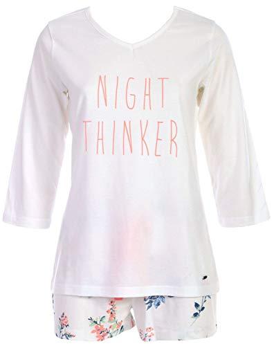 By Louise Damen Pyjama kurz Schlafanzug Nachtwäsche weiß blau Koralle floral Spruch, Farbe:Mehrfarbig, Grösse:S - 36