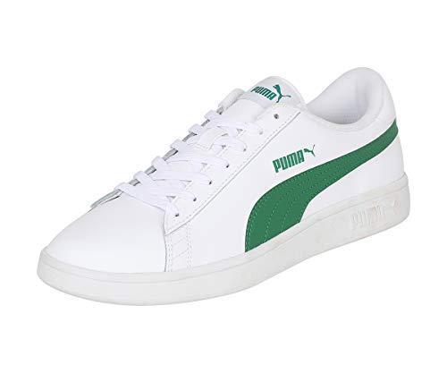 PUMA Smash V2 L, Zapatillas Unisex Adulto, Blanco White/Amazon Green, 37 EU