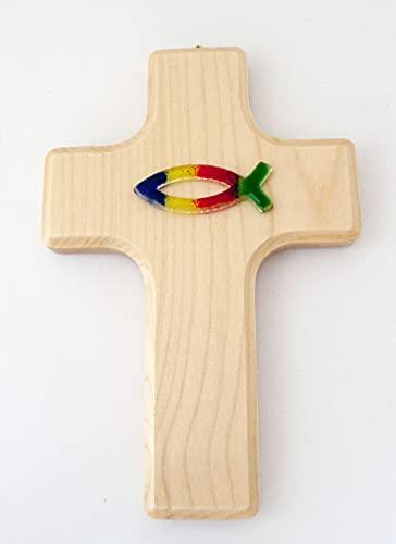 Houten kruis met glazen vis ca. 15×11 cm