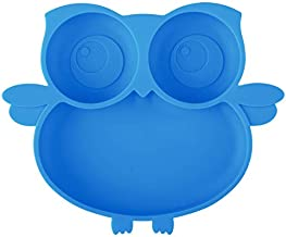 Kirecoo Owl Suction Silicone Plate for Toddlers - Self Feeding Training Storage Divided Bowl and Dishes for Baby and Kids, Fits for Most Hairchairs Trays, Microwave Dishwasher Safe (Blue)