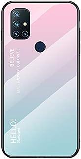 Futanwei Gradient Glass Cases for OnePlus Nord N10 5G Case, [Slim Lightweight] [Scratch-Resistant] [Gradient Pink Blue Pat...