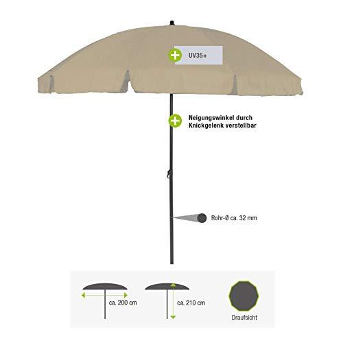 greemotion Sonnenschirm 3m mit UV-Schutz - Balkonschirm in Beige-Grau - Gartenschirm knickbar - Terrassenschirm rund - Outdoor-Schirm für Balkon, Terrasse & Garten