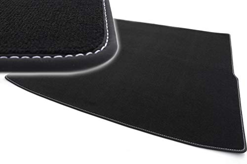 kh Teile Kofferraummatte passend für Passat (B8) Variant Premium Qualität Velours Autoteppich schwarz Ziernaht weiß
