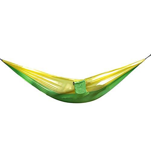 GUATANGT Hamac De Camping,Extérieur Double Lit De Couchage Ultra-Léger Parachute Portable Séchage Rapide Camping Nylon Vert Foncé Jaune Hamac pour Survie Jardin Randonnée