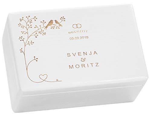LAUBLUST Holzkiste zur Hochzeit - Vogel-Pärchen - Geschenkkiste Personalisiert mit Gravur - 30x20x14cm, Weiß, FSC®
