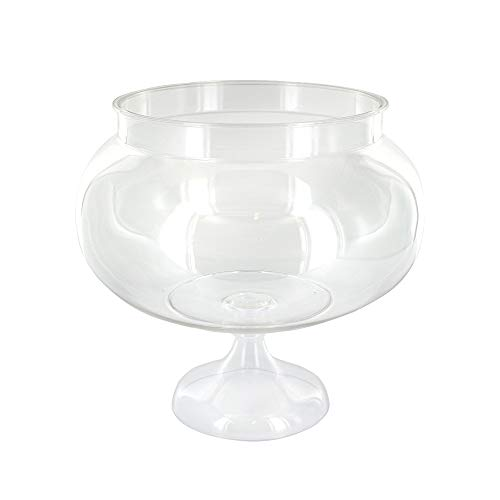 RamPro Short Round Clear Plastic Reusable Pedestal Jar Perfect for Engagement Parties, Wedding Receptions and Wedding Anniversary Party Accessories