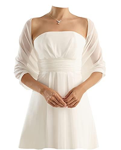 Chiffon Stola Chiffonschal - Brautstola perfekt zum Brautkleid - Festliche Chiffonstola - Abendstola - Elegant Klassisch - Hochzeit Abendkleid...