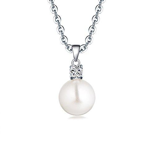 JO WISDOM Collana Perla Argento 925 8mm semirotondo Perla coltivata d'acqua dolce AAA Zirconia Cubica Donna