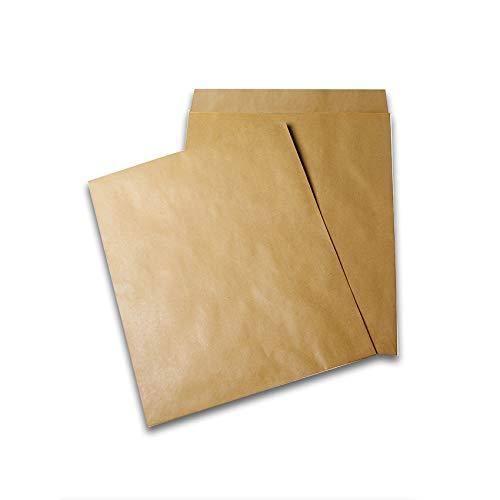 Verpakking met 100 radio-hoesjes, kraftpapier, bruin, 375°x°450, 90 g/m2, met rubber