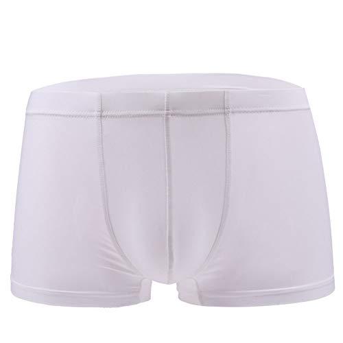 Egurs Ice Silk boxershorts voor heren, naadloze onderbroek U-design, convex, transparant, ademend, hoge elasticiteit, comfortabel (wit)