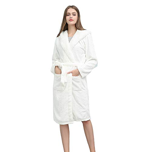 MLXG Hotel Unisex capuchon badjas, gemiddelde lengte warme kimono gewaad zacht pluche flanel nachtjapon huisje