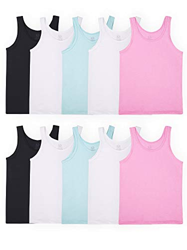 Fruit of the Loom Girls' Undershirts (Camis & Tanks), Tank - 10 Pack - Assorted, Medium