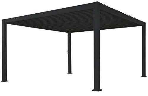 SORARA Mirador Deluxe Pavillon 3 x 3.6 m Wasserdicht - Pergola mit Lamellendach - Aluminium terrassenüberdachung - Schwarz