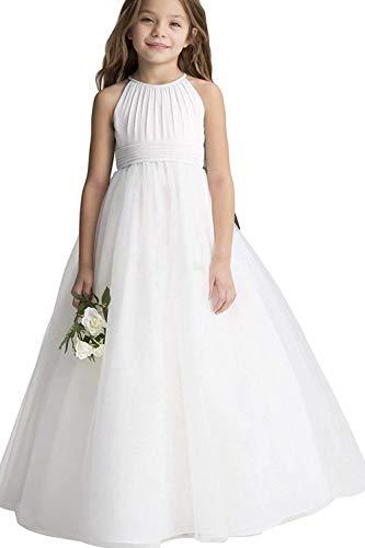 MisShow Kinder Prinzessin Abendkleid Ärmellos Brautkleid Tüll Chiffon Blumenmädchen Hochzeitskleid Bodenlang Gr. 12-13 Jahre