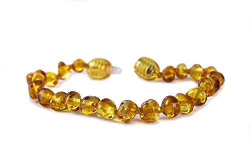 Baby J's PREMIUM Baltic Amber Bracelet/Anklet Polished Honey - Variety of sizes 12-18cm - Money Back Guarantee. - Beautiful, practical and unique. (13cm)