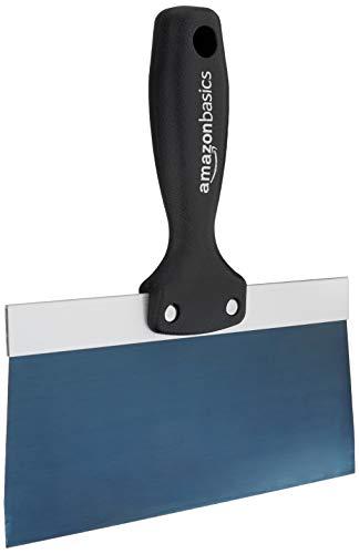 Amazon Basics - Espátula para masilla de acero con mango sólido y agarre suave 20.32 cm, color azul