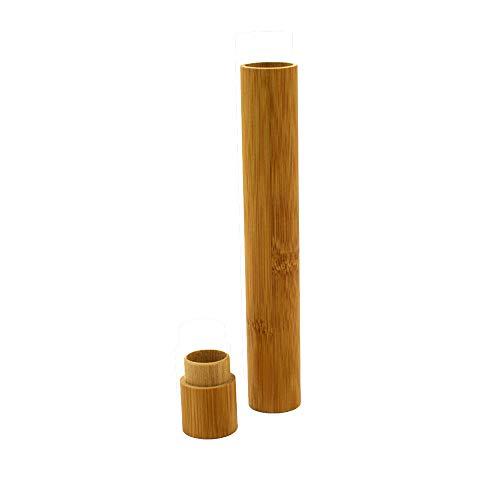 FiedFikt Zahnbürstenhalter aus natürlichem Bambus, antibakteriell, tragbare Zahnbürstenaufbewahrung, Zahnbürstenschutz für Reisen, Camping, Schule, A*1 pc