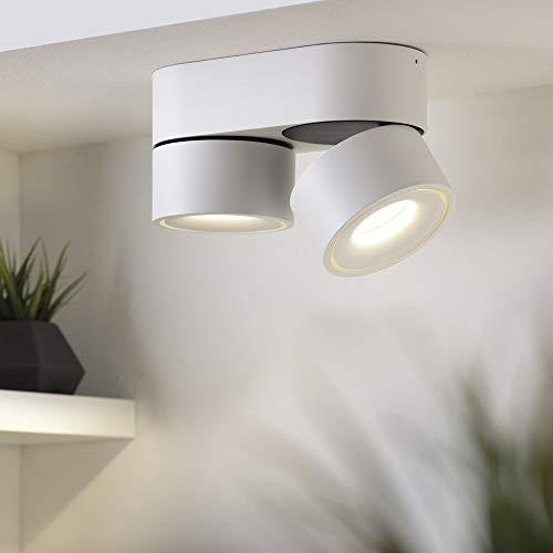 famlights Wand- & Deckenaufbauspot Ben 2-flammig, Metall, weiß, inkl. LED | Wandleuchte, Wandspot, Deckenspot, Deckenstrahler, Wandlampe, Wandstrahler | LED-Strahler | 350° drehbar, 90° schwenkbar