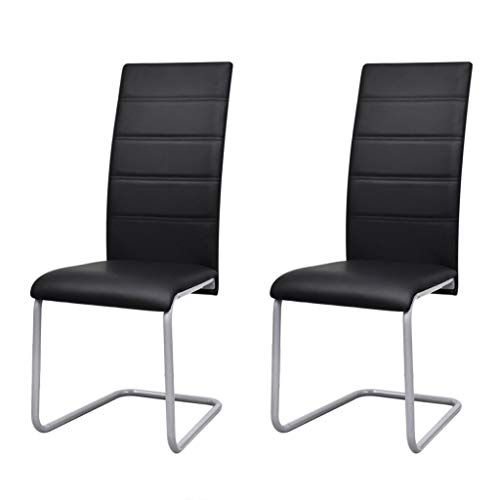 vidaXL Dining Chairs 2 pcs, Kitchen Chairs,Lightweight but Also Sturdy,for Garden,Yard,Patio,Lawn,Deck,Porch, Outdoor Living,Lounge,Black Faux Leather, 16' x 20.7' x 40.4'