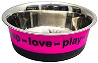 Naaz Pet Supplies Pet Bowl for D Dogs and Cats. Wipe Clean, Stainless Steel with Non-Skid Bottom- Pink
