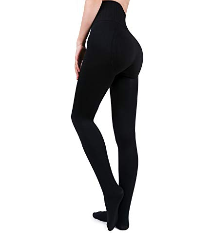 Wonder Young Women's Opaque Warm Fleece Lined Tights - Thick Winter Thermal Tights Butt Lifting High Waisted Pantyhose