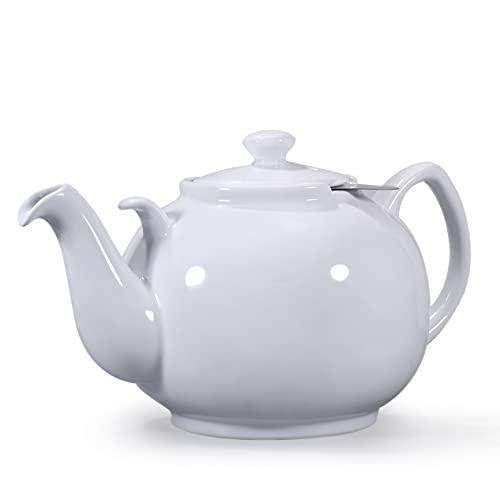 Urban Lifestyle Teapot Liverpool - Teiera classica in ceramica, 2 l, con filtro, colore: Bianco