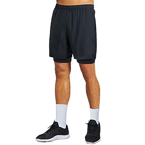 """GANSANRO Mens 2 in 1 Running Shorts 5"""" Mens Running Shorts Athletic Shorts for Men with Pockets Black"""