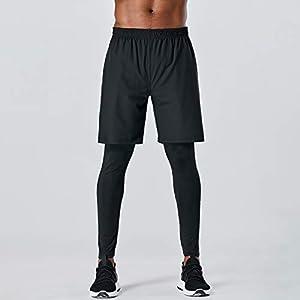 Walory メンズスポーツパンツ2-in-1伸縮性速乾性ポケット通気性ランニングタイツワークアウトアスレチックレギンス,メンズスポーツパンツ