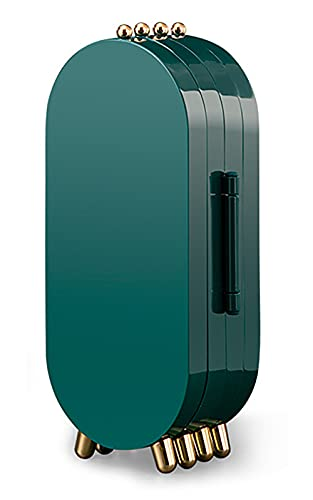 Bgfuni Caja joyas, Caja de Joyería, Joyero Organizador, Viaje Cajas para Joyas, Joyero Portátil de Viaje para Mujer, Caja Joyero con espejo, para anillos, pendientes, collares y pulseras (Verde)