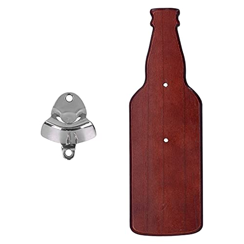 Haowecib Abridor de Cerveza, Madera compuesta Magnético Operación con una Mano Abridor de Botellas de Cerveza Fiesta Conveniente para Botella de Vino para Botella de Cerveza