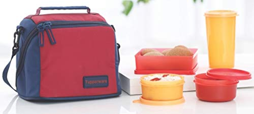 Tupperware TP-860-T187 Plastic Best Lunch (Including Bag) with Two Bowls, One Tumbler and One Square Box all (Purple)