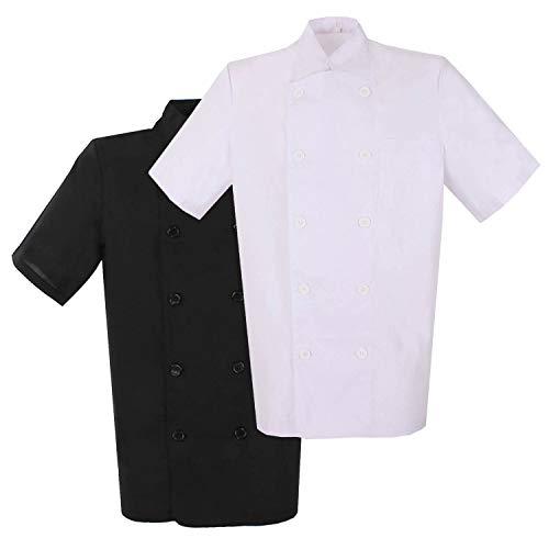 MISEMIYA - Pack*2 Pcs - Chaquetas Cocinero Bar Restaurante Ropa Cocinero con Mangas Cortas - Ref.8422 - XL, Mixto