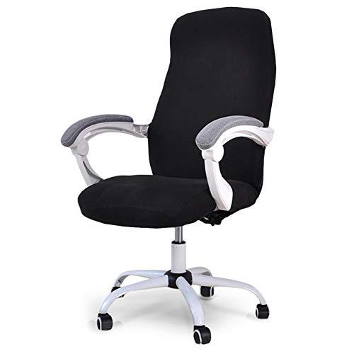 Homcosan - Funda para silla de oficina con ruedas, elástica, estilo moderno, estilo simplismo, cómodo, antipolvo, con cremallera, color negro, tamaño mediano