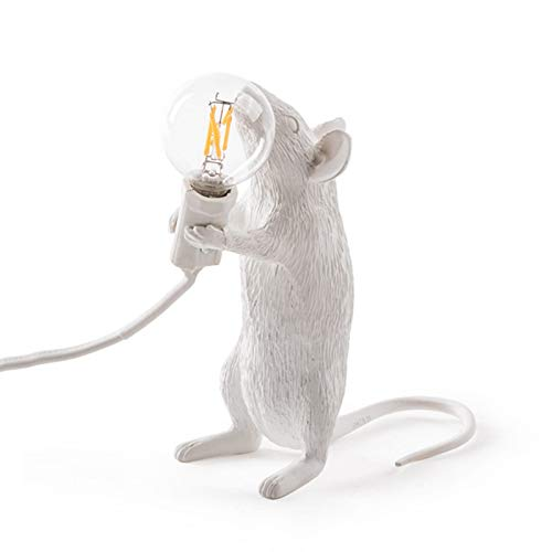 Tenflyer Mouse Lamp,Tischlampe Maus Form Harz Verwaltung Licht Nachttischlampe Licht Wohnraumdekor (Standing, White)