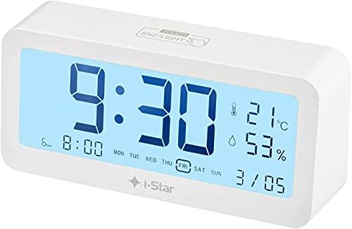 Sveglia Digitale da Comodino, Sveglia Digitale con 3 allarmi, Sveglia Digitale da Comodino a Pile, 12 24 ore, dimmer, calendario, temperatura, umidità, Snooze per bambini, adulti, sordi (bianco)