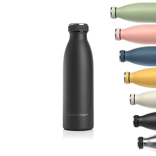 Lars NYSØM Borraccia Termica da 500ml in Acciaio Inox | Bottiglia isolata Senza BPA | Bottiglia d'Acqua a Tenuta stagna per Sport, Bicicletta, Cane, Bambino Bambini
