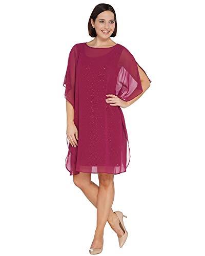 Bob Mackie Womens Plus Sparkle Knit Dress with Chiffon Caftan 2X Magenta A305226