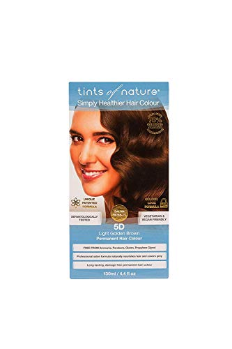 Tints of Nature 5D Light Golden Brown Permanent Hair Dye | A Bronzed Light Brown Home Hair Colour Kit | Vegan Friendly | 130ml / 4.4 fl oz