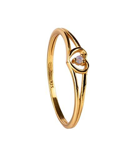 SIX Vergoldeter Ring aus 925er Silber mit Glaskristall - Größe: 56 (728-875)
