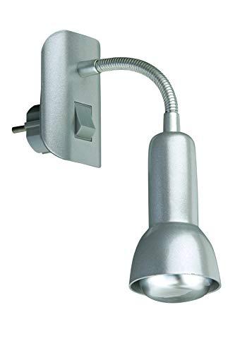 Briloner Steckerleuchte, Steckerlampe, Steckerspot, E14, 25 Watt, Flexarm, titanfarbig
