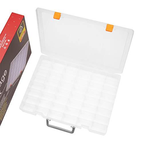 SOMELINE Sortimentskasten Sortierboxen Stabile Sortimentsbox Einstellbar Tragegriff Werkzeugbox mit fester Fachaufteilung für Klein Teile Nägel Nähutensilien Schrauben Sortierkasten 48 Fächern