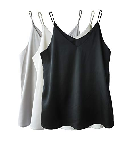 Wantschun Damen Satin Silk Weste Bluse Tank Tops Shirt Cami Spaghetti Träger Camisole Vest V-Ausschnitt 4XL Schwarz+Weiß+Grau