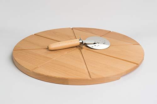 TNNature Neu Premium Pizza-Set 2 teilig | Pizzabrett Buche Ø 40 cm mit Einteilung Pizzaschneider …