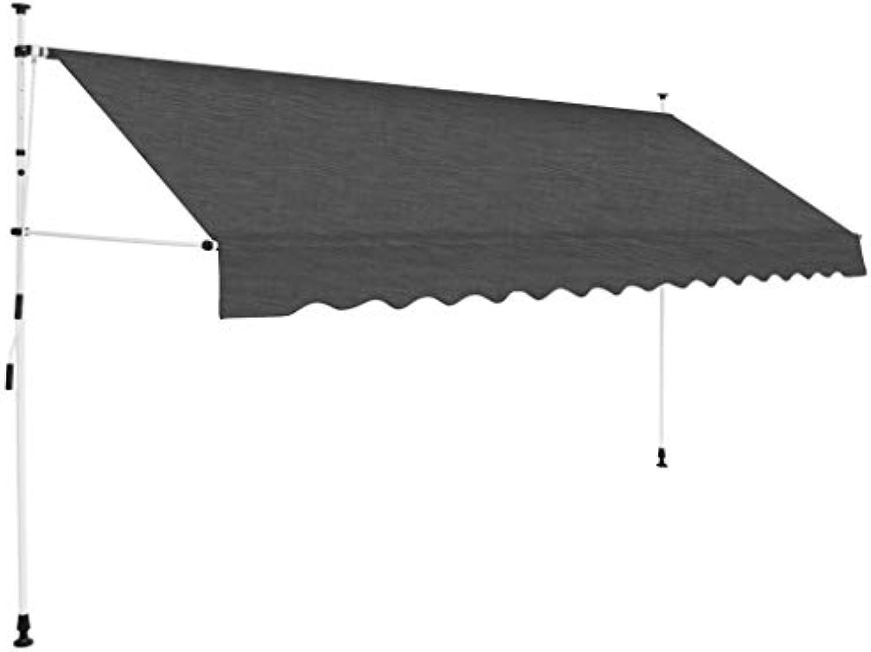 Festnight- Einziehbare Markise  Handbetrieben Klemmmarkise  Balkonmarkise  Sonnenschutz Spannmarkise  Terrasse Markise  Anthrazit Cremewei 150 200 250 300 350 400 cm