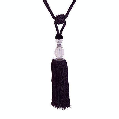 Luxe Aubergine Long Satin Boucle Perl/é Filet Voile Embrasses de Rideaux 33-84cm